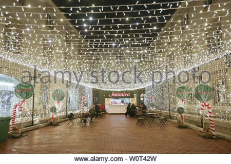 ZAGREB, CROATIA - DECEMBER 13th, 2017: Advent time in city center of Zagreb, Croatia. Illuminated plateau of Klovicevi dvori gallery. - Stock Photo
