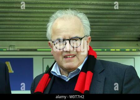 Präsident / Praesident Fritz Keller (Freiburg),     1. BL: 17-18 -29. Spieltag - SC Freiburg vs VfL Wolfsburg - Stock Photo