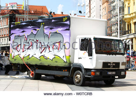 ZAGREB, CROATIA - MAY 19, 2018 : A view of graffiti on a truck parked on Jelacic square in Zagreb, Croatia. - Stock Photo