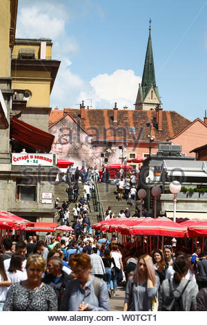 ZAGREB, CROATIA - MAY 19, 2018 : A view of a large group of people on Dolac food market in city center in Zagreb, Croatia. - Stock Photo