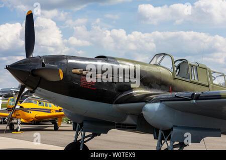 BERLIN - APRIL 27, 2018: Soviet ground-attack aircraft Ilyushin Il-2 Shturmovik of the Great Patriotic War. Exhibition ILA Berlin Air Show 2018. - Stock Photo