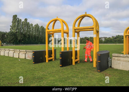 Wimbledon, London. UK . 28th June 2019. Concrete barriers and metal gates are being been installed outside the All England Tennis Club in the public queueing zone  to protect visitors in preparation for the Wimbledon Lawn Tennis Championships which start on 1 July . Credit: amer ghazzal/Alamy Live News - Stock Photo