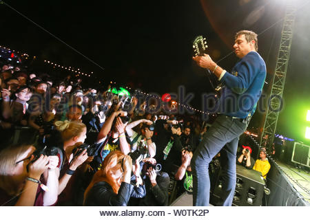ZAGREB, CROATIA - 25th June, 2018 : British-American indie rock band The Kills performs on the OTP World stage during the first day of 13th INmusic festival located on the lake Jarun in Zagreb, Croatia. - Stock Photo