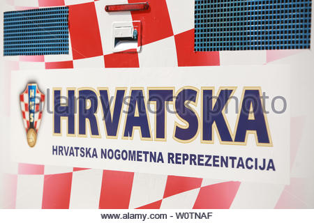 ZAGREB, CROATIA - JULY 16, 2018 : A poster with the Croatian Football Association logo on a truck at the National Football Team welcome home celebration in Zagreb, Croatia. - Stock Photo