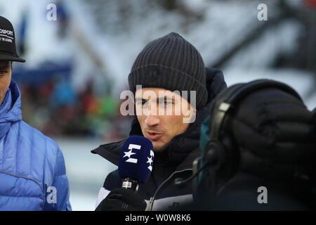 Martin Schmitt (TV-Experte /Skisprung-Experte, Eurosport, Ex-Weltmeister) beim Auftaktspringen Vierschanzentournee 18-19 Oberstdorf - Stock Photo