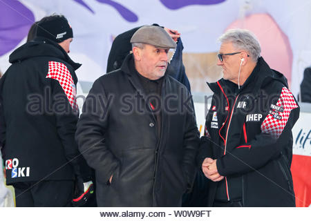 Zagreb, Croatia - January 6, 2019 : Zagreb mayor Milan Bandic on the award ceremony of the Audi FIS Alpine Ski World Cup Mens Slalom, Snow Queen Trophy 2019. - Stock Photo