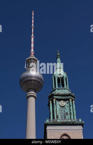 The Fernsehturm (English: Television Tower) is a television tower in central Berlin, Germany. - Stock Photo