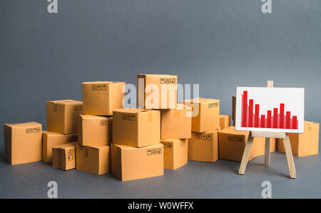 A big pile of cardboard boxes and a stand with information chart. Increasing consumer demand, exports or imports. rate growth of production of goods a - Stock Photo