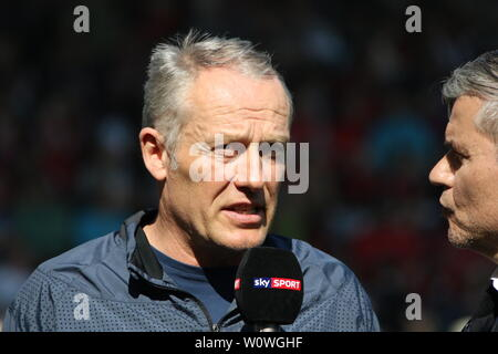 Trainer Christian Streich (Freiburg),   1. BL: 18-19: 27. Sptg. -  SC Freiburg vs. FC Bayern München  DFL REGULATIONS PROHIBIT ANY USE OF PHOTOGRAPHS AS IMAGE SEQUENCES AND/OR QUASI-VIDEO  Foto: Joachim Hahne/johapress - Stock Photo