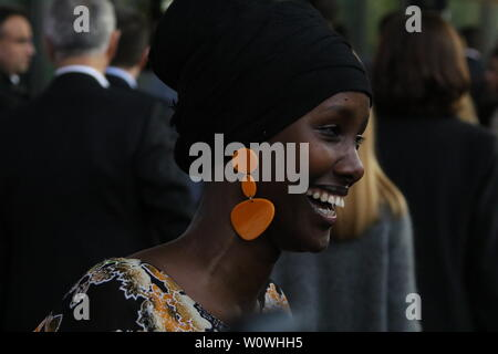 Sonderpreis 2018, Fatuma Musa Afrah (Laudator: Christian Wulff) beim Radio Regenbogen Award Rust 2019 - Stock Photo