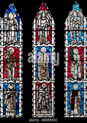 The East Window of the Arts and Crafts Church, All Saints, Brockhampton-by-Ross, Herefordshire, UK - Stock Photo