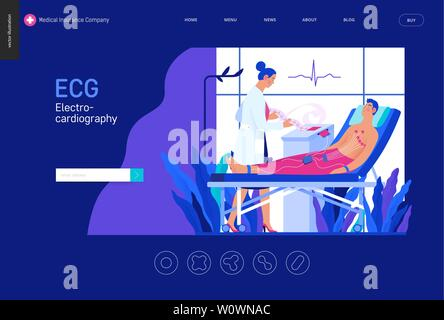 Medical tests blue template -ECG test -modern flat vector concept digital illustration of electrocardiography procedure -patient sensors and doctor ca - Stock Photo