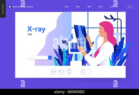 Medical tests blue template - x-ray test - modern flat vector concept digital illustration of x-ray image - a doctor looking at the radiograph , in th - Stock Photo