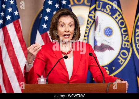 Washington, United States. 27th June, 2019. House Speaker Nancy Pelosi (D-CA) speaking at her weekly press conference at the US Capitol in Washington, DC. Credit: SOPA Images Limited/Alamy Live News - Stock Photo