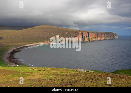 View of Rackwick Bay from the path to the Old Man of Hoy - Stock Photo