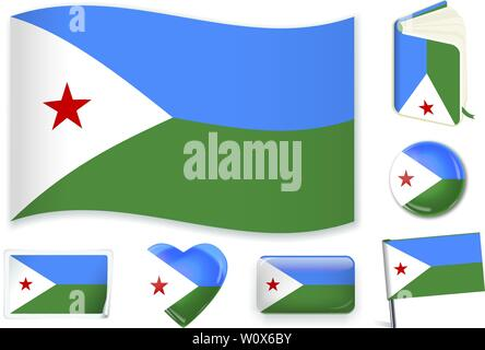 Djibouti national flag. Vector illustration. 3 layers. Shadows, flat flag, lights and shadows. Collection of 220 world flags. Accurate colors. Easy changes. - Stock Photo