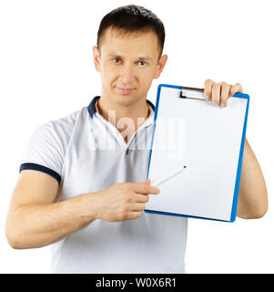 Fit man personal trainer standing with clipboard isolated on white background - Stock Photo