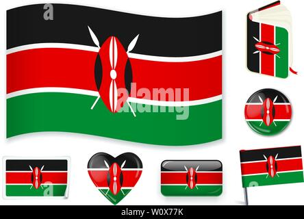 Kenyan national flag. Vector illustration. 3 layers. Shadows, flat flag, lights and shadows. Collection of 220 world flags. Accurate colors. Easy changes. - Stock Photo