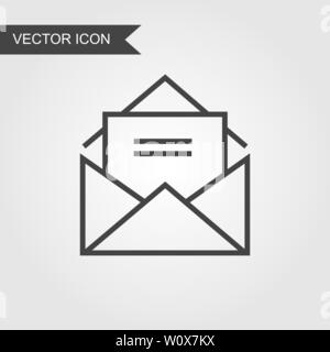 Open envelope with a letter inside line icon. Vector mail linear style for web site page, marketing, mobile app, design element, logo on isolated back - Stock Photo
