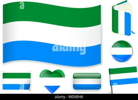 Sierra Leone national flag. Vector illustration. 3 layers. Shadows, flat flag, lights and shadows. Collection of 220 world flags. Accurate colors. Easy changes. - Stock Photo