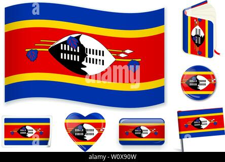 Swaziland national flag. Vector illustration. 3 layers. Shadows, flat flag, lights and shadows. Collection of 220 world flags. Accurate colors. Easy changes. - Stock Photo