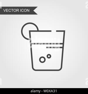 Cocktail glass line icon. Vector mail linear style for web site page, marketing, mobile app, design element, logo on isolated background - Stock Photo