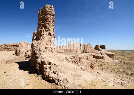 Uzbekistan,the largest ruins castles of ancient Khorezm – Ayaz - Kala - Stock Photo