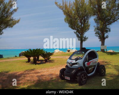The latest tourist travel adventure in Bermuda. The Renault Twizy, an all electric vehicle that allows freedom and independence to tour safely. - Stock Photo