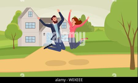 Jumping couple flat vector illustration. Man and woman cartoon characters having fun, celebrating moving into new home. Satisfied wife and husband jumping near house among trees, real estate - Stock Photo