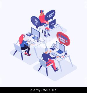 Call center vector isometric illustration. Customer service operators with headset consulting clients, managers 3d cartoon characters. All-day tech support, office workers at workplace - Stock Photo