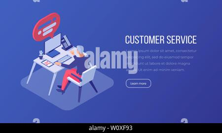 Customer service isometric landing page. Male consultant, operator working at helpline, manager at workplace, call center office vector layout. Technical support 3d illustration - Stock Photo