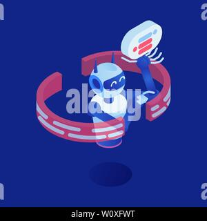 Internet robot vector isometric illustration. Futuristic bot, virtual assistant, chatbot 3d cartoon character. Artificial intelligence, machine learning industry, nanotechnology, smart technology - Stock Photo