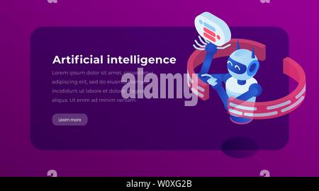 Artificial intelligence isometric landing template page. Virtual assistance chatbot, software application, website vector layout. AI, cybernetic technology 3d concept illustration - Stock Photo