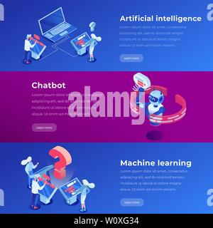 Artificial intelligence isometric landing page template. Machine learning, software application, ai website steps vector layout. Virtual assistant, chatbot 3d concept illustration - Stock Photo