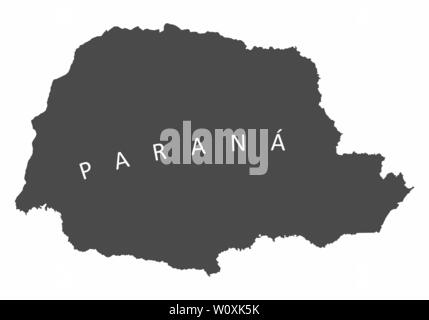 Parana State silhouette map isolated on white background - Stock Photo