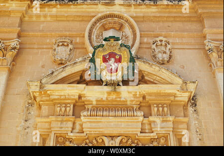 Details over the front door of the Metropolitan Cathedral of Saint Paul in Mdina, Malta - Stock Photo