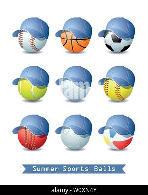 Big Collection of different Summer Sports Balls with a Denim Baseball cap for your creative work. Vector illustration. - Stock Photo
