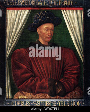 Jean Fouquet - Portrait Charles Vii King France C 1445 - Stock Photo