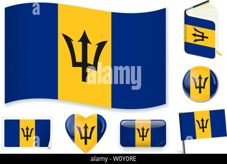 Barbados national flag. Vector illustration. 3 layers. Shadows, flat flag, lights and shadows. Collection of 220 world flags. Accurate colors. Easy changes. - Stock Photo