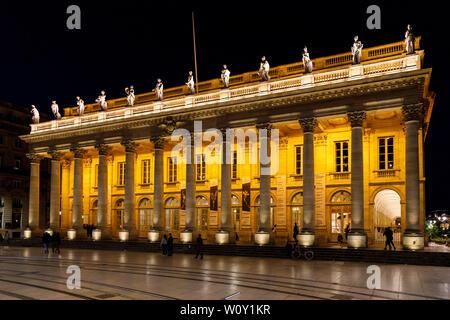 1780 Grand Théâtre Opera house designed by Victor Louis on the Place de la Comédie, Bordeaux, France. - Stock Photo