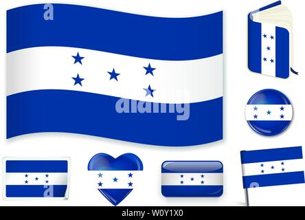 Honduras national flag. Vector illustration. 3 layers. Shadows, flat flag, lights and shadows. Collection of 220 world flags. Accurate colors. Easy changes. - Stock Photo