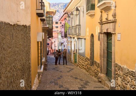 Colorful homes and museums in colonial Calle Jaén, La Paz, Bolivia - Stock Photo
