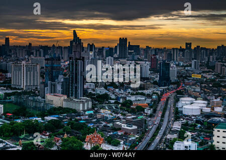 bangkok,Thailand - jun 26, 2019 :  Sky view of Bangkok with skyscrapers in the business district in Bangkok in the during beautiful twilight give the - Stock Photo