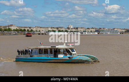 The BAT3 ferry on the Garonne River in Bordeaux, Gironde department, France. Part of the city's integrated transport system.
