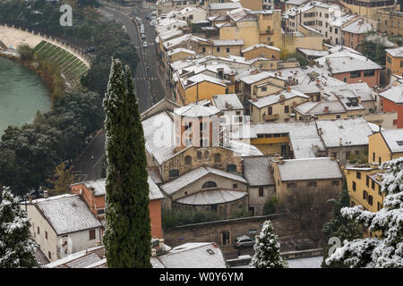 Aerial view of the city of Verona in winter with the Saint Stephen church (Chiesa di Santo Stefano V-XII century) UNESCO world heritage site Veneto It - Stock Photo