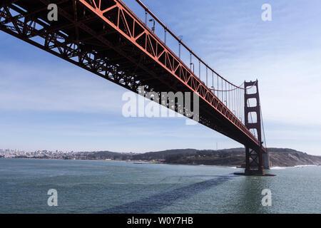 Aerial view under the Golden Gate Bridge near San Francisco on the scenic California coast. - Stock Photo