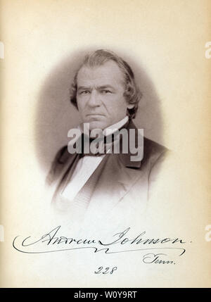 Andrew Johnson, Senator from Tennessee, Thirty-fifth Congress, Head and Shoulders Portrait, Photograph by Julian Vannerson, 1859 - Stock Photo