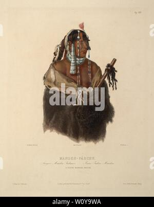 Mändeh-Páhchu, A young Mandan Indian - Karl Bodmer aquatint from Travels in the Interior of North America (Voyage dans l'intérieur de l'Amérique) - Stock Photo