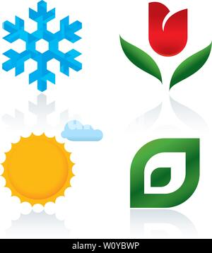 Vector illustration. Four seasons icons Winter, spring, summer autumn - Stock Photo