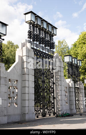 The main entrance front gate on Kirkeveien at Frogner Park in Oslo, Norway. - Stock Photo